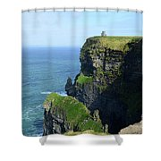 Grass Growing Along The Cliff's Of Moher In Ireland Shower Curtain