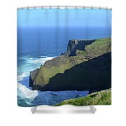 Grass Growing Along The Sea Cliffs In Ireland Shower Curtain