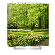 Grass Lawn With Daffodils  Shower Curtain
