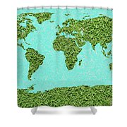 Grass World Map Shower Curtain