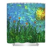 Grassland With Orange Flowers Shower Curtain