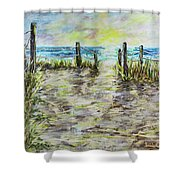 Grassy Beach Post Morning 2 Shower Curtain