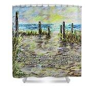 Grassy Beach Post Morning 2 Jeremiah 33 Shower Curtain
