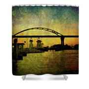 Grassy Island Lighthouses Shower Curtain