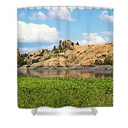 Grassy Shore Of Willow Lake Shower Curtain