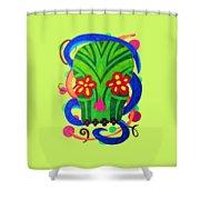 Grassy Skull Transparent Shower Curtain