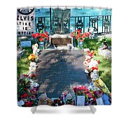 Grave Site At Graceland The Home Of Elvis Presley, Memphis, Tennessee Shower Curtain