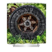 Gravel Pit Goodyear Truck Tire Shower Curtain