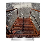 Gravel Pit Grinder Rusty Staircase Shower Curtain