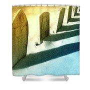 Gravestones In Winter Shower Curtain