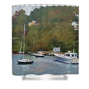 Gray Afternoon At Rockport Harbor Shower Curtain