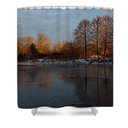 Gray And Amber - An Early Winter Morning On The Lake Shore Shower Curtain