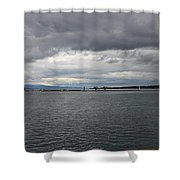 Gray And Gray Shower Curtain