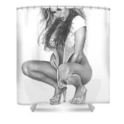 Gray Fox Shower Curtain