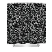 Gray Paisley Design Shower Curtain