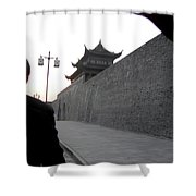 Gray Wall Shower Curtain