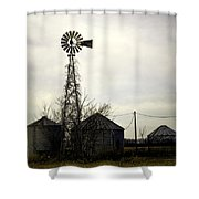 Gray Windmill Shower Curtain