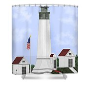 Grays Harbor Light Station Historic View Shower Curtain