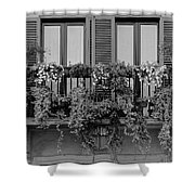 Grayscale Foliage Shower Curtain