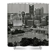 Grayscale Pittsburgh Shower Curtain