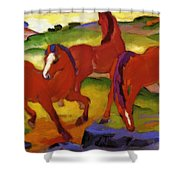 Grazing Horses Iv The Red Horses 1911 Shower Curtain