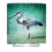 Great Blue Heron Shower Curtain by Ellen Heaverlo