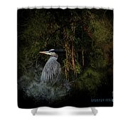 Great Blue Heron On The River Shower Curtain