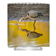 Great Blue Heron On Yellow Shower Curtain