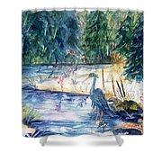 Great Blue Heron Square Cropped  Shower Curtain