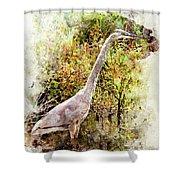 Great Blue Heron W C Shower Curtain