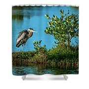 Great Blue On One Leg Shower Curtain