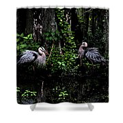 Great Blue Standoff In Watercolor Shower Curtain