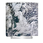 Great Britain Snowy Shower Curtain by Artistic Panda