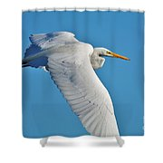Great Egret Flying High Shower Curtain