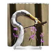 Great Egret With Lizard Who Is Holding Onto Wood Shower Curtain