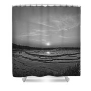 Great Fountain Geyser Sunset Bw Shower Curtain