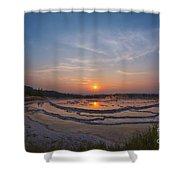 Great Fountain Geyser Sunset  Shower Curtain