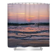 Great Fountain Geyser Sunset Reflections Shower Curtain