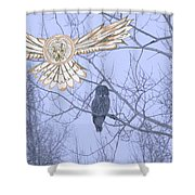 Great Gray Owl Together Shower Curtain