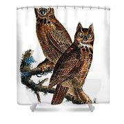 Great Horned Owl Audubon Birds Of America 1st Edition 1840 Royal Octavo Plate 39 Shower Curtain