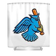 Great Horned Owl Baseball Mascot Shower Curtain
