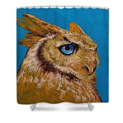 Gold Owl Shower Curtain
