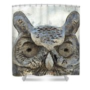 Great Horned Owl Pencil Shower Curtain