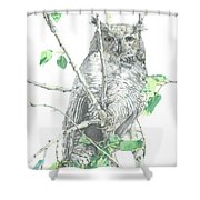 Great Horned Owl Perched In A Tree Shower Curtain