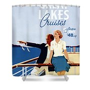 Great Lakes Cruises - Canadian Pacific - Retro Travel Poster - Vintage Poster Shower Curtain