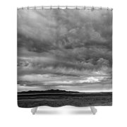 Great Salt Lake Clouds At Sunset - Black And White Shower Curtain