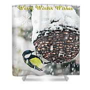 Great Tit In The Snow Card Shower Curtain