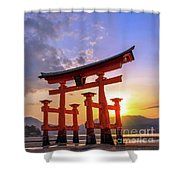 Great Torii Of Miyajima At Sunset Shower Curtain