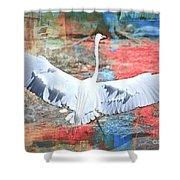 Great White Egret Landing Shower Curtain