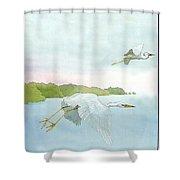 Great White Heron 1 Roger Bansemer Shower Curtain